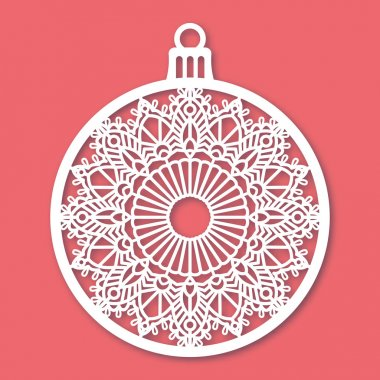 Christmas ball with snowflake. Laser Cutting template