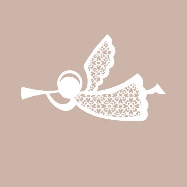 Christmas angel with geometric pattern. Laser Cutting template