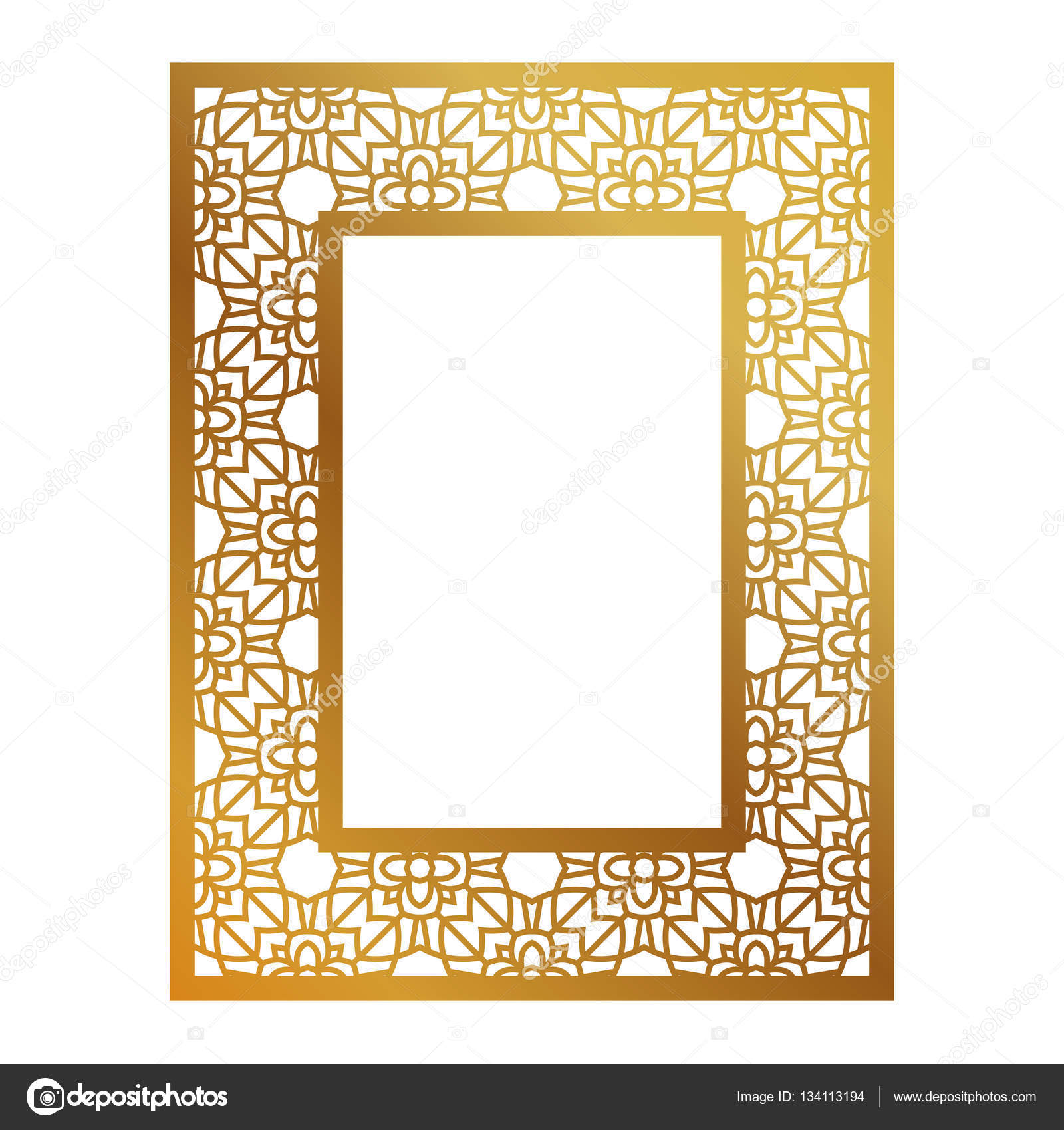 Frame with geometric pattern. Cut laser square template — Stock ...