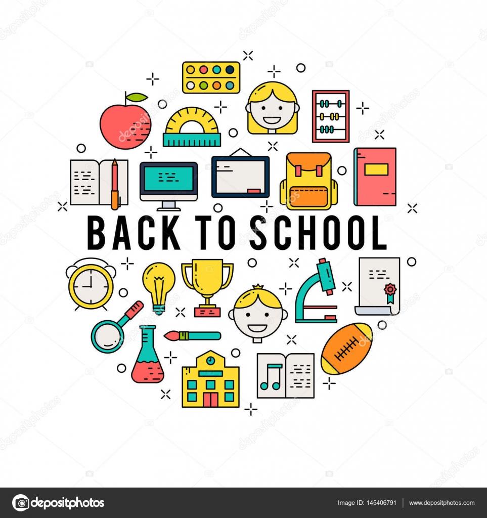 Illustration of symbols school items icon stock vector illustration of symbols school items icon stock vector buycottarizona Image collections