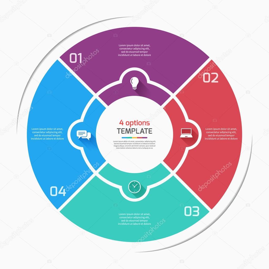 Flache Kreisdiagramm Kreis Infografik Stilvorlage mit 4 Optionen ...