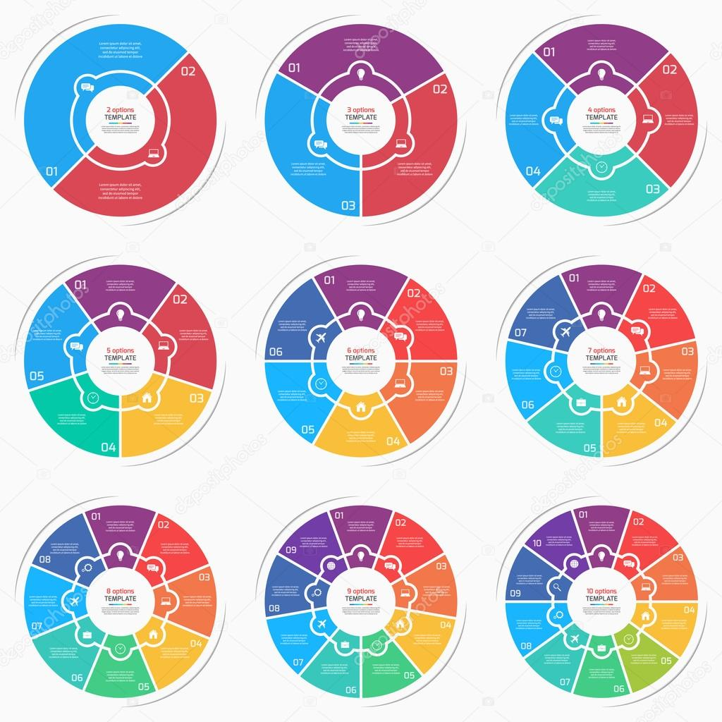 Set of flat style pie chart circle infographic templates with 2 10 set of flat style pie chart circle infographic templates with 2 10 options steps nvjuhfo Choice Image