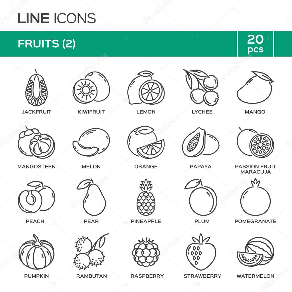 Set of fruit thin line icons in alphabetical order fruit symbols set of fruit thin line icons in alphabetical order fruit symbols labels emblems biocorpaavc