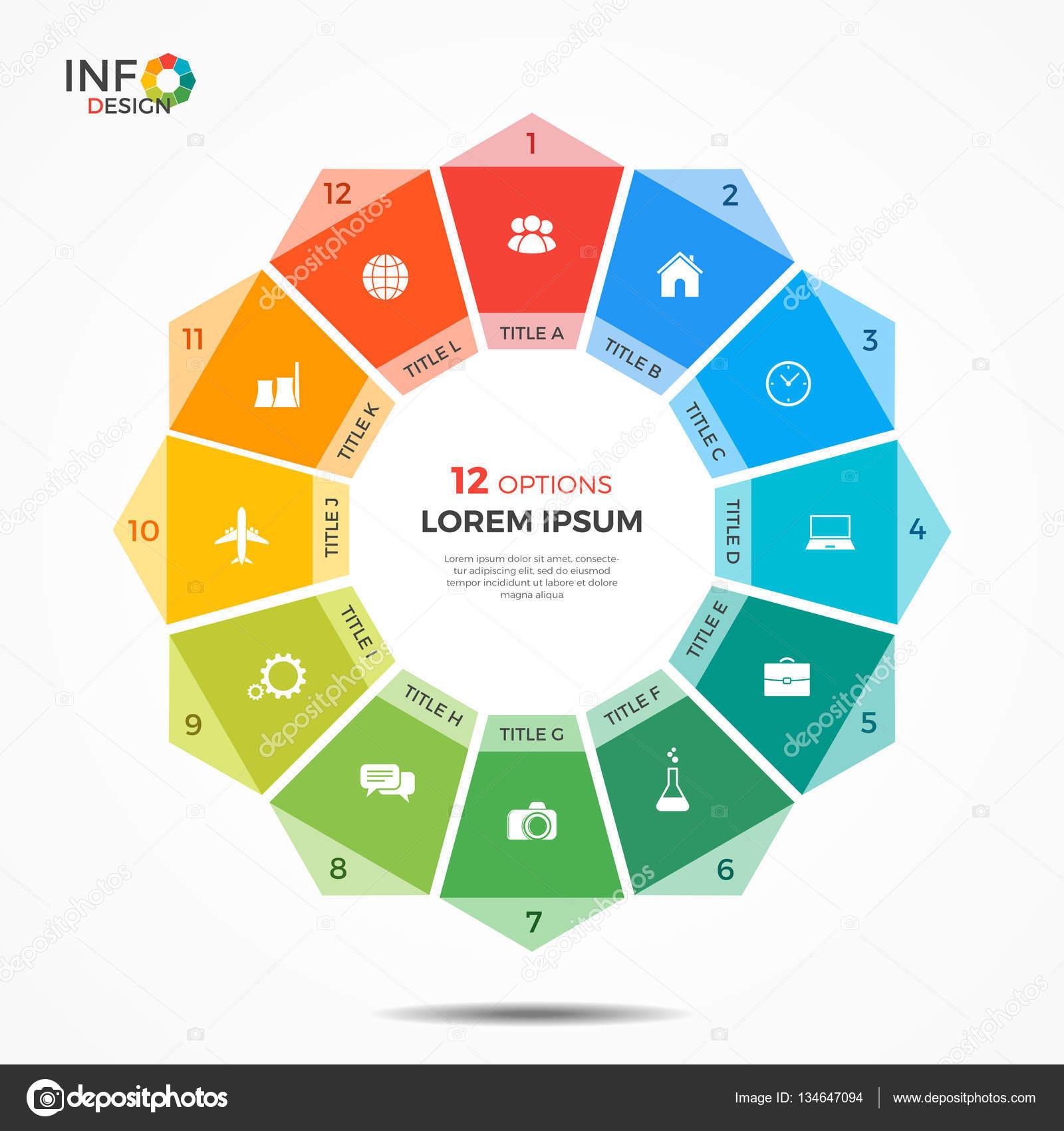 Plantilla de infografía con 12 opciones de gráfico del círculo ...