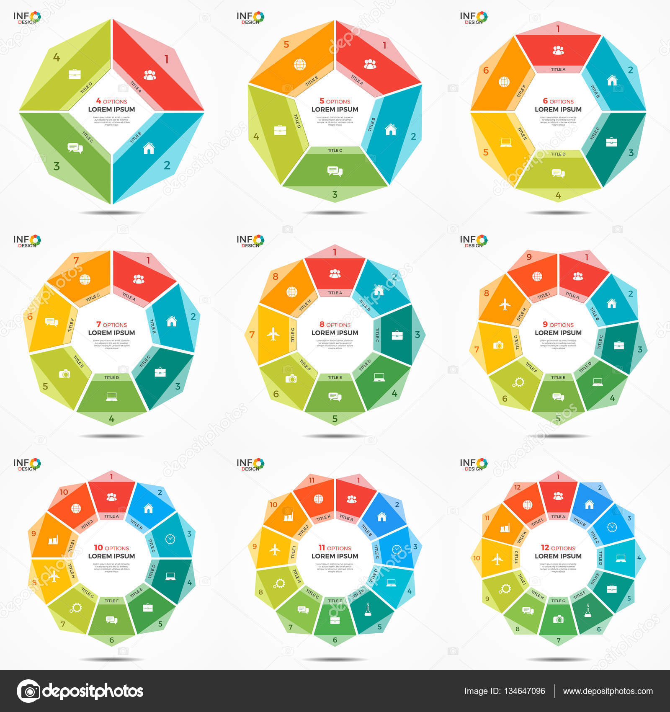 Configurar plantillas de infografía de 4-12 opciones círculo gráfico ...