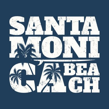 Santa Monica tee print with surfboard and palms. T-shirt design, graphics, stamp, label, typography.