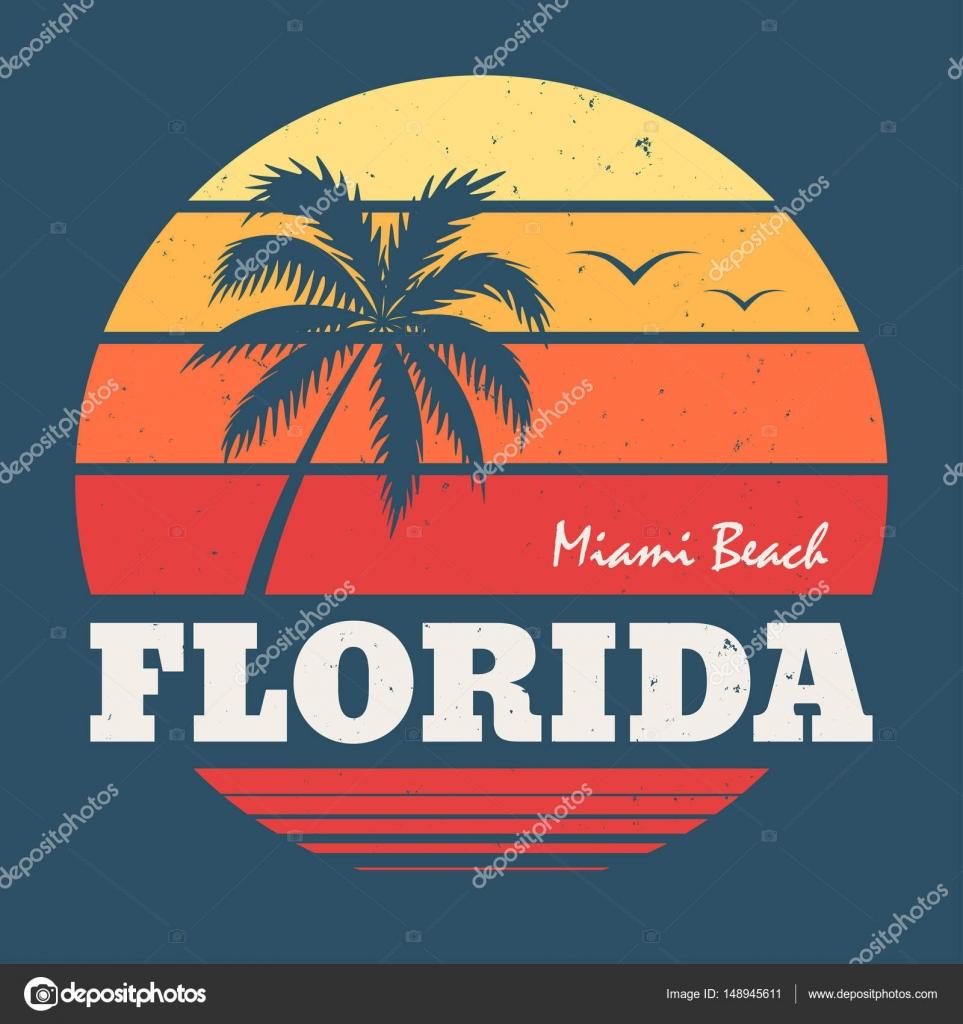 Florida Miami Beach Tee Print Stock Vector Rikkyal 148945611