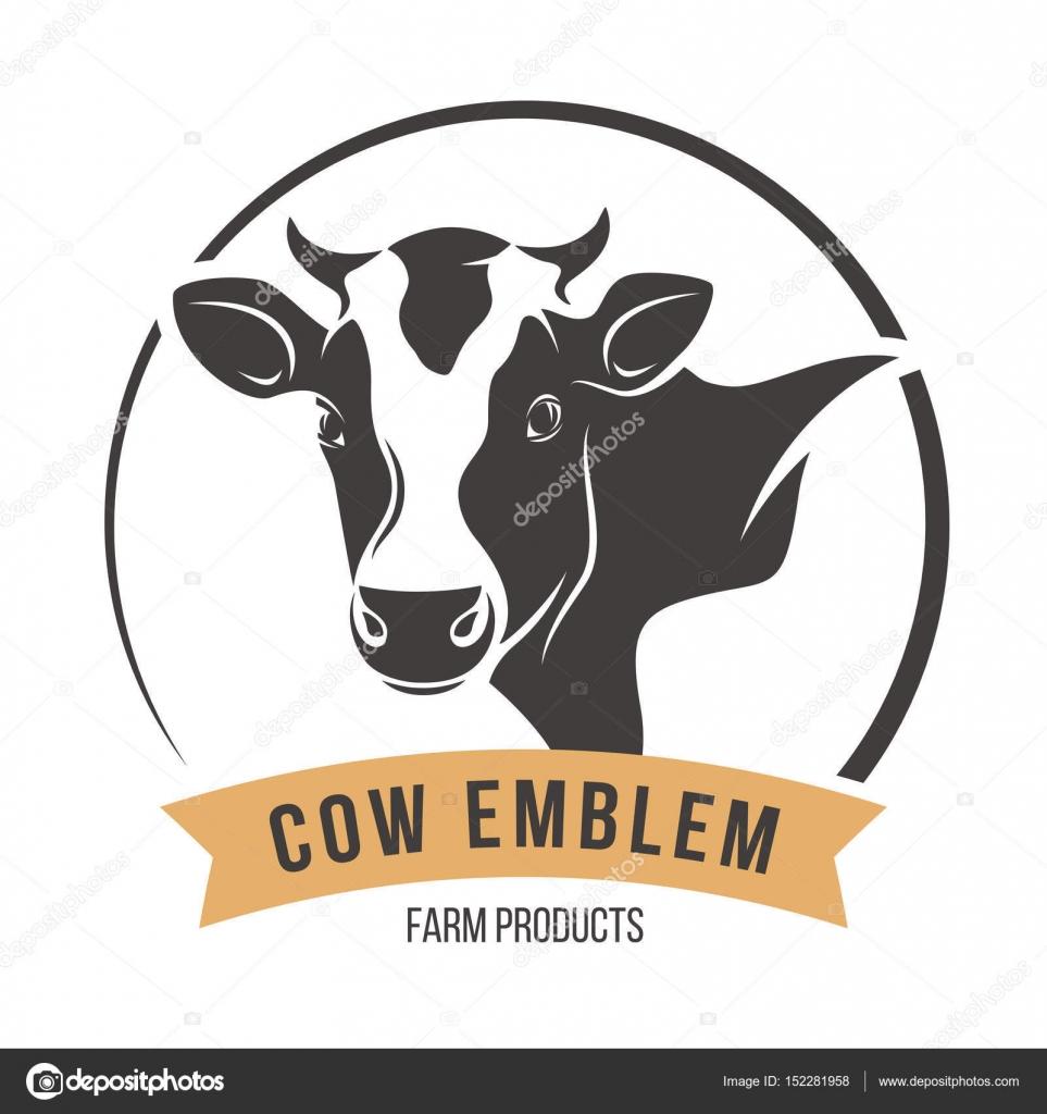 etiqueta de emblema de silueta de cabeza de vaca free cow logo vector cow farm logo vector