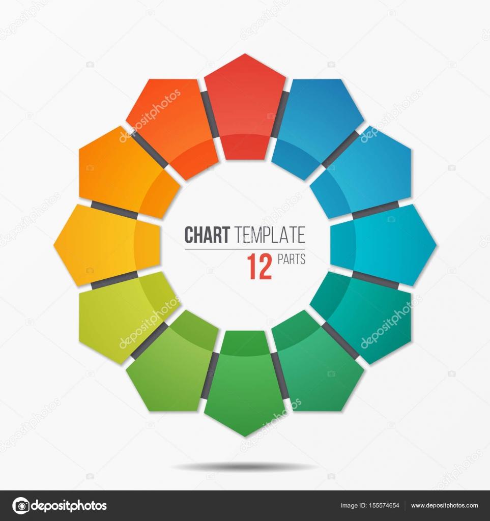 Polygonale Kreis Diagrammvorlage Infografik mit 12 Teile ...
