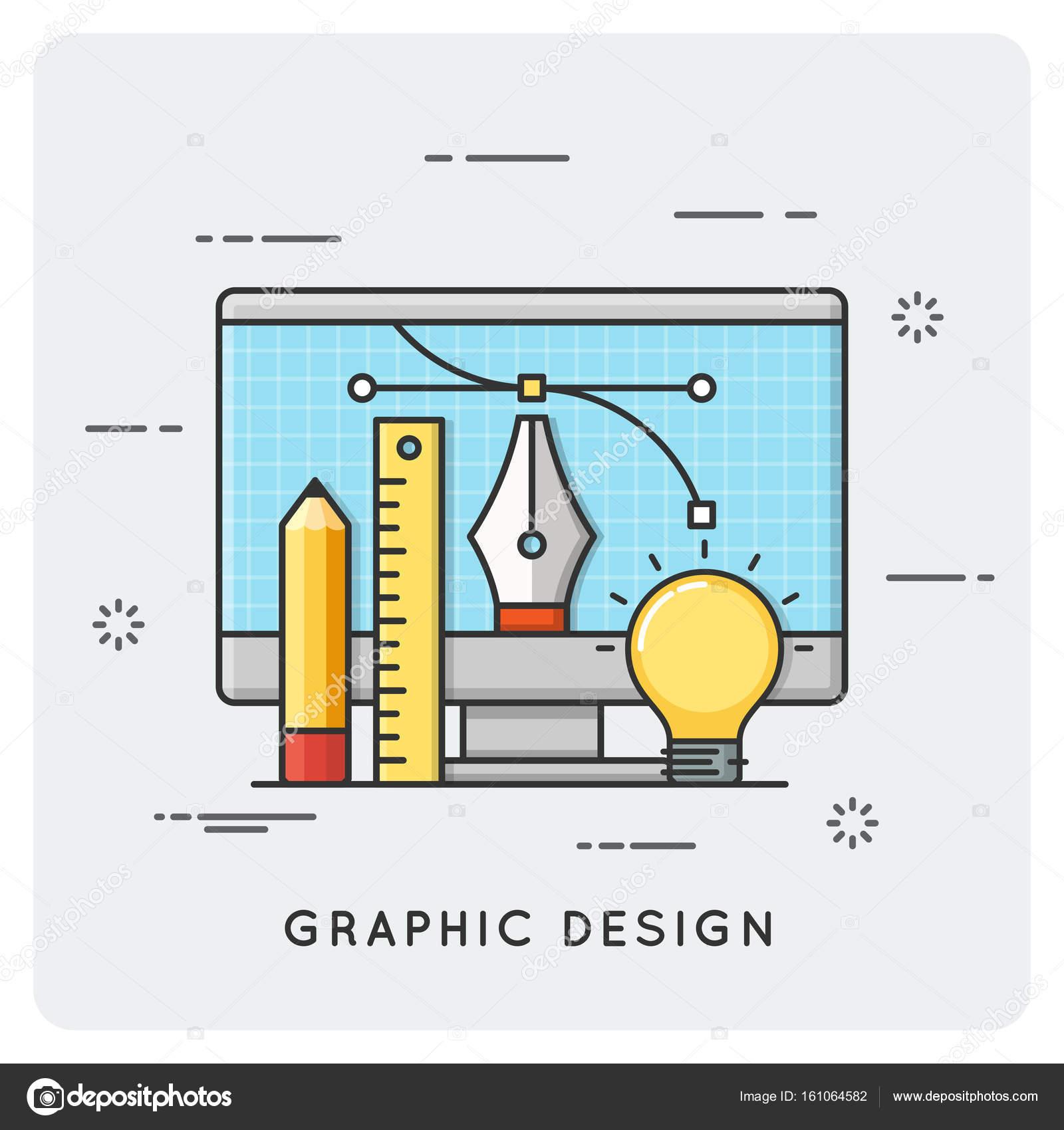 Grafik-Design, Zeichnung, Technik. Dünne Linienkonzept — Stockvektor ...