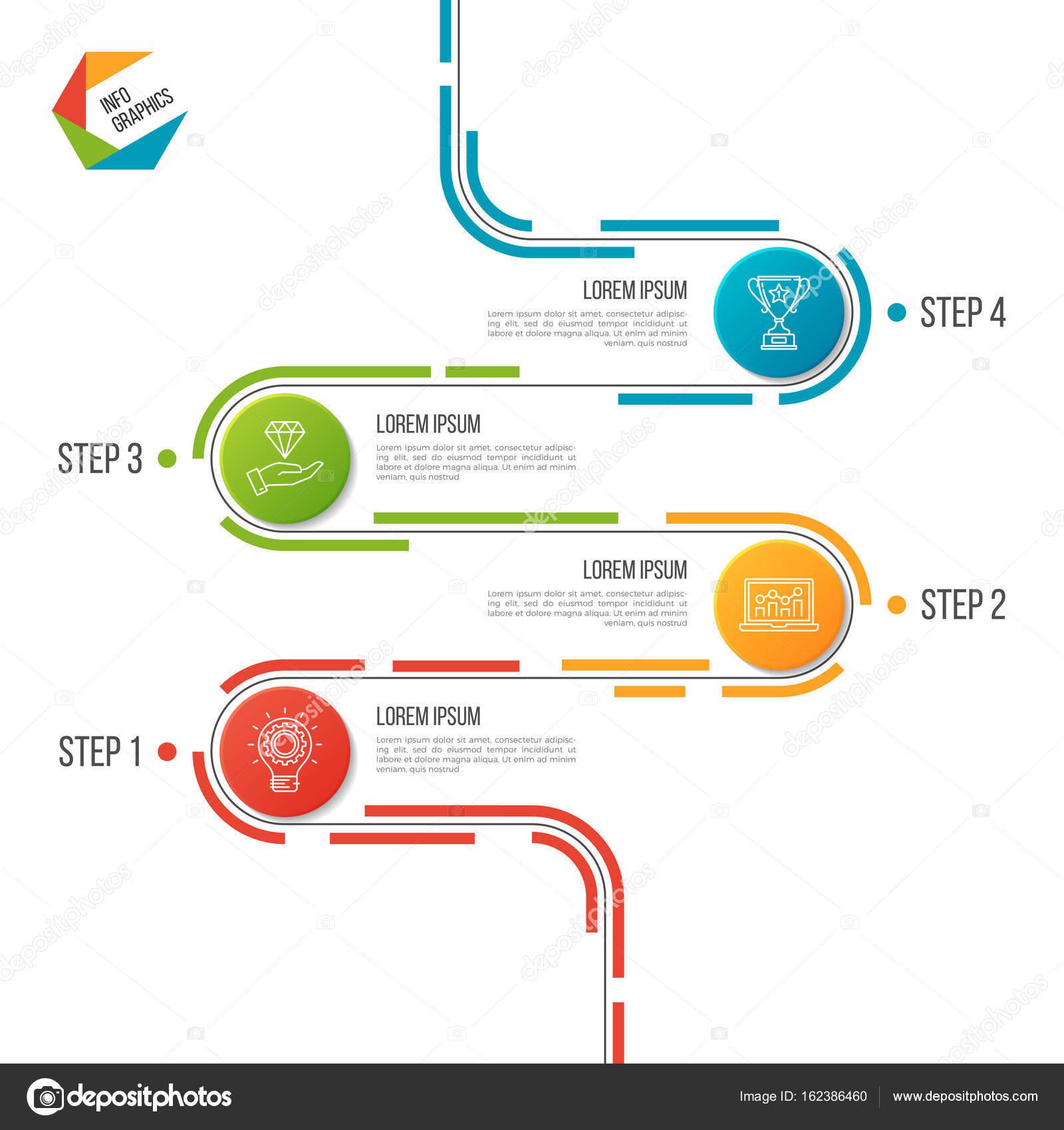 抽象的な 4 つのステップの道タイムライン インフォ グラフィック
