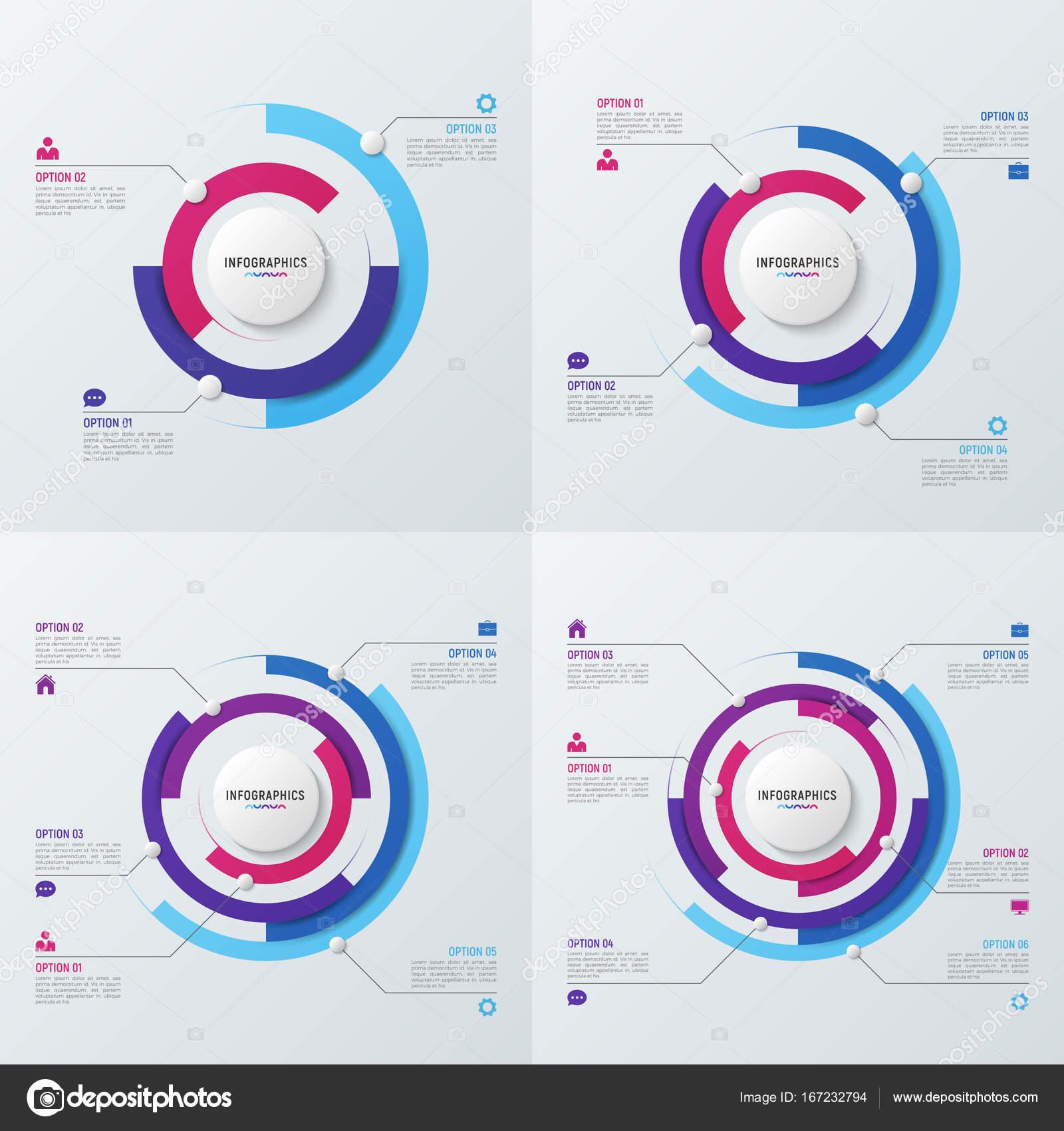 Plantillas de infografía vector círculo gráfico para visualización ...