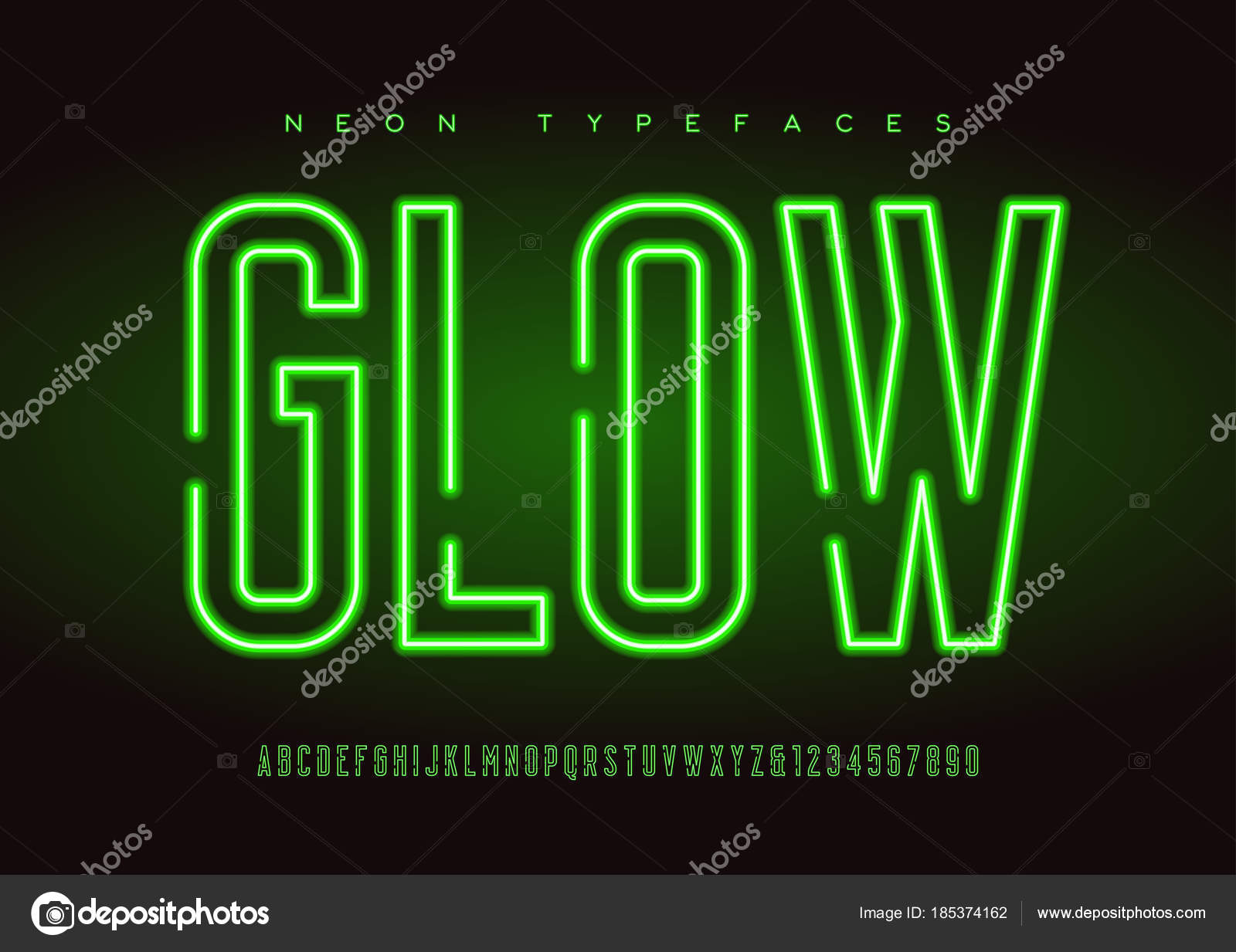 glowing vector linear neon typefaces alphabet letters font typography global swatches vector by rikkyal