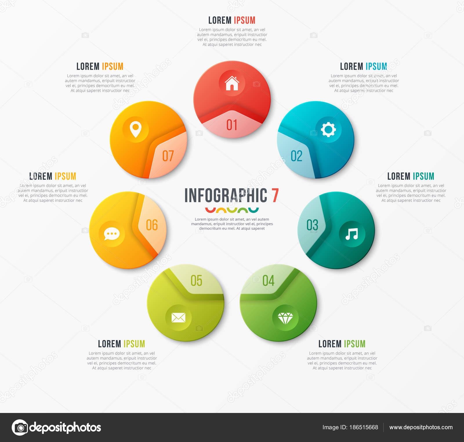 Plantilla de gráfico de círculo con 7 opciones. Diseño vectorial ...