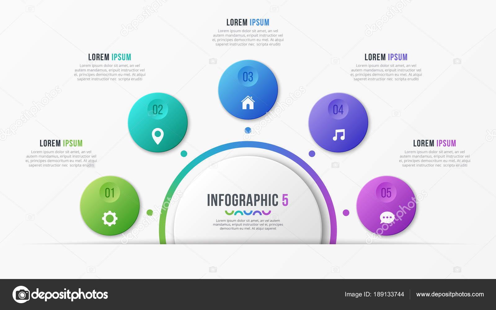 Kreis-Diagramm-Vorlage mit 5 Optionen. Vektor-Design für infograp ...