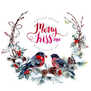 Watercolor Christmas Wreath made of Snow Spruce Branches, Cones, Red Holly Berries, Mistletoe Leaves and Dry Twigs with a Couple of Bullfinches. Festive Decoration Isolated on white. Vintage Style. stock vector