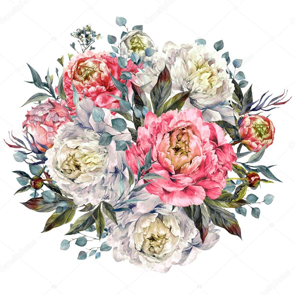 Watercolor Peonies Round Bouquet