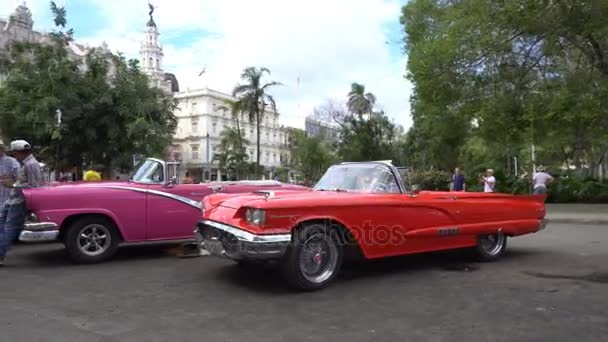 Panoramic view around old colorful bright retro cars in the parking zone in central downtown of Havana in summer day