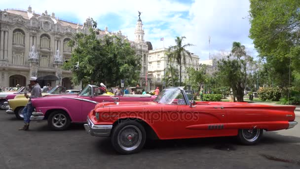 View on old colorful bright retro cars in the parking zone in central downtown of Havana in summer day