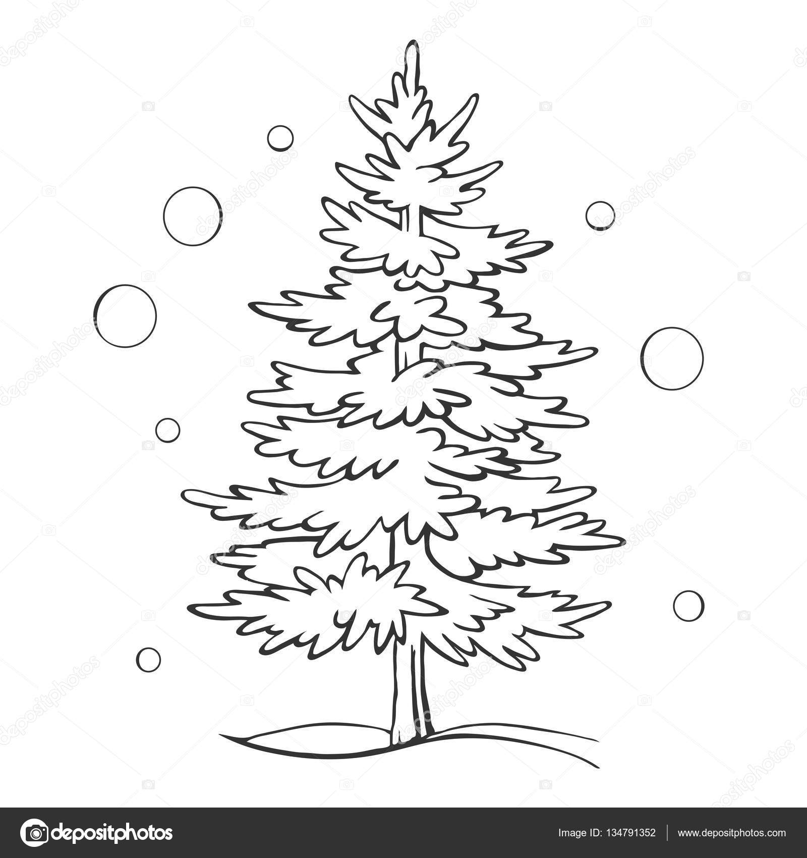 Drawing Christmas Tree Sketch.Christmas Tree Sketch Symbol Vector Xmas Winter Stock