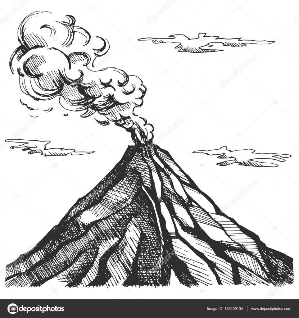 Line Drawing Volcano : Vector sketch of the volcano — stock roma