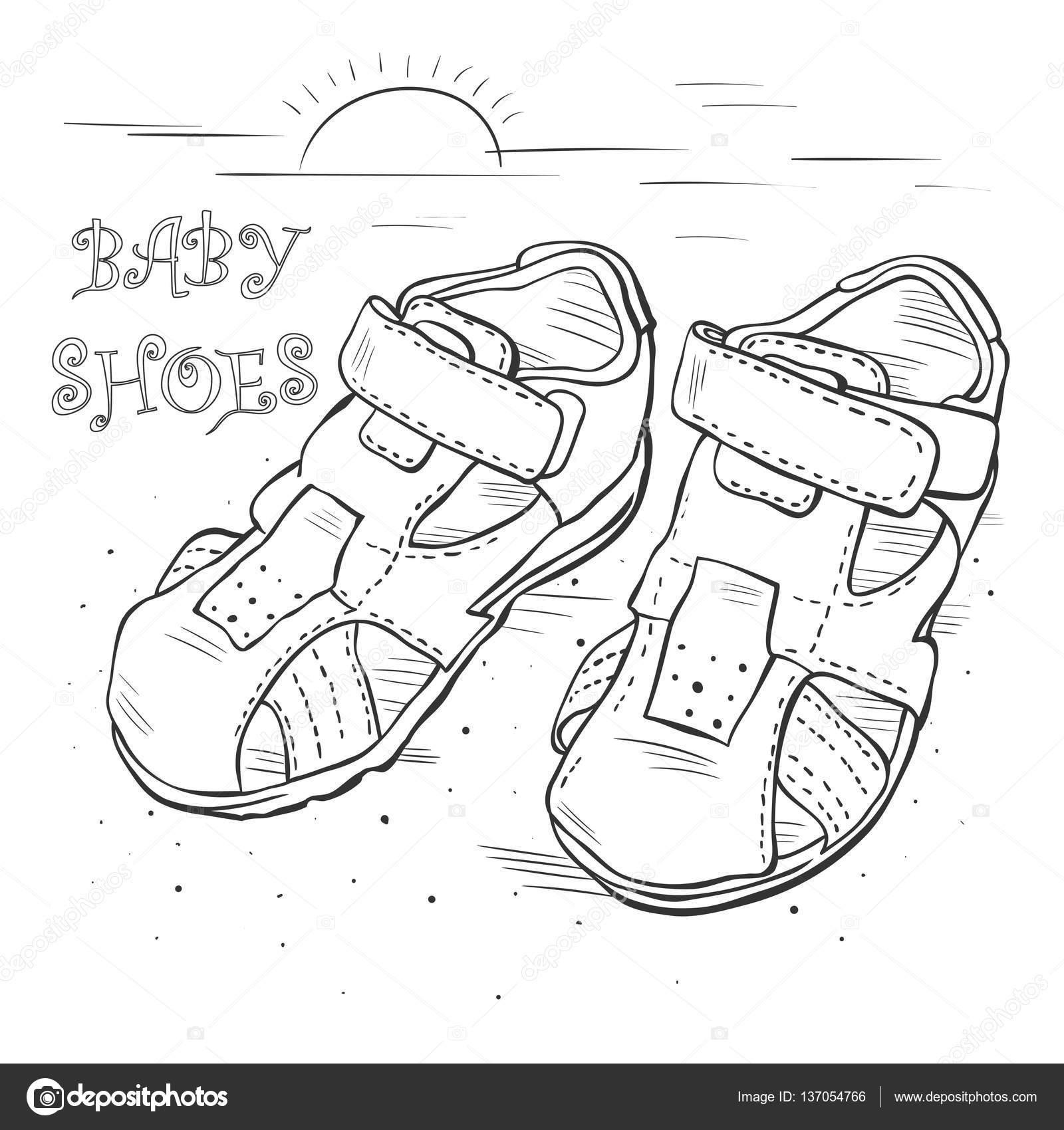 Boceto para niños sandalias para niño — Vector de stock © roma79 ...