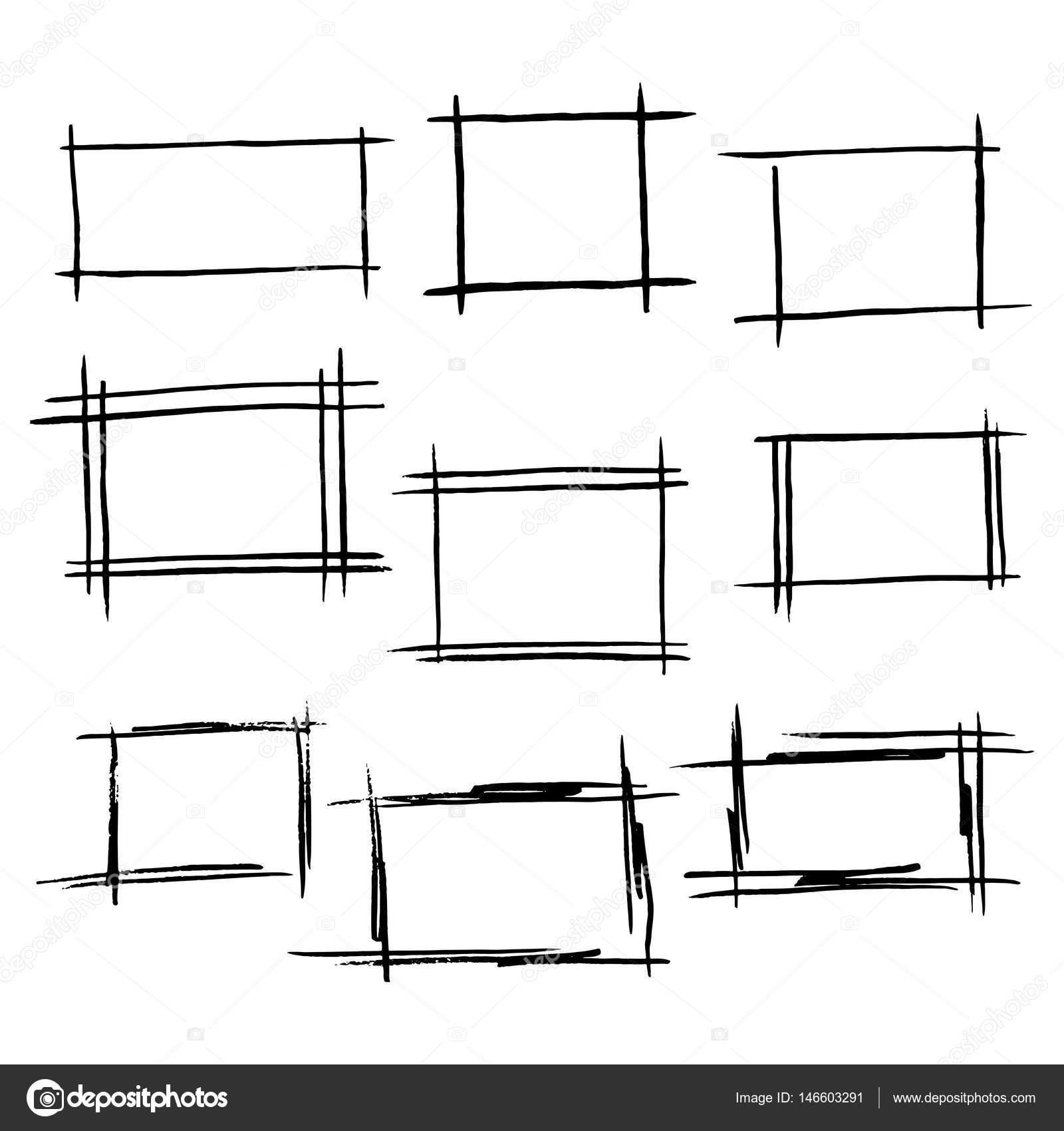 Rechteck-Rahmen-Satz von handgezeichneten borde — Stockvektor ...