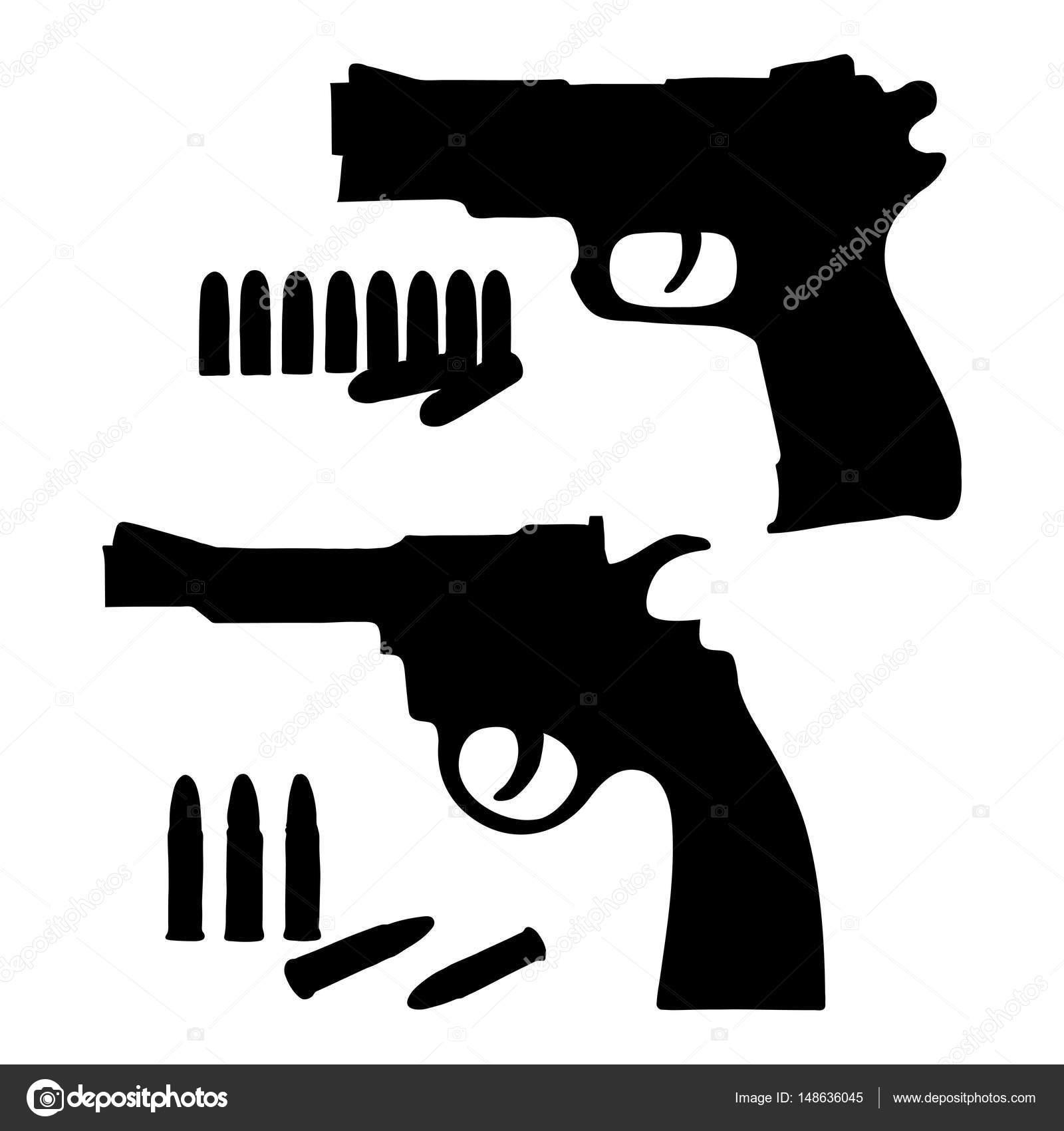 imágenes pistolas para dibujar silueta dibujo vector revólver y