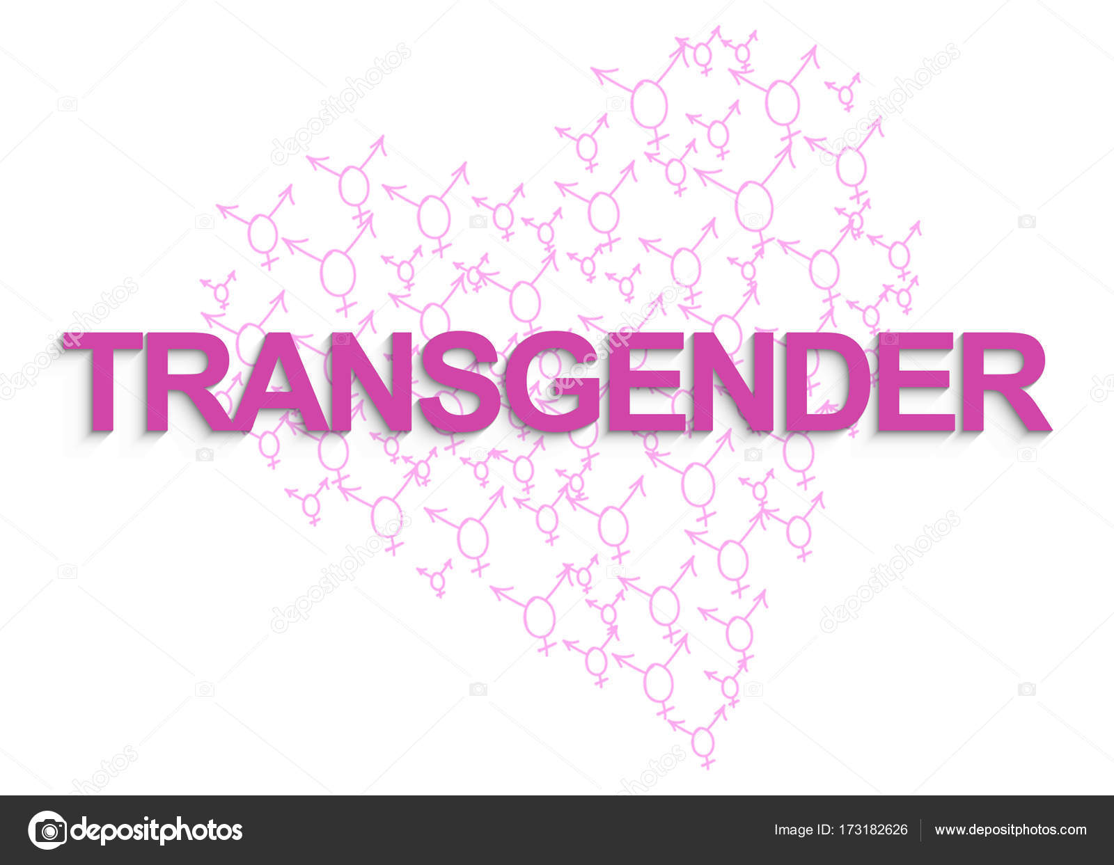 Transgender Text With Transgender Symbols On The Background Stock