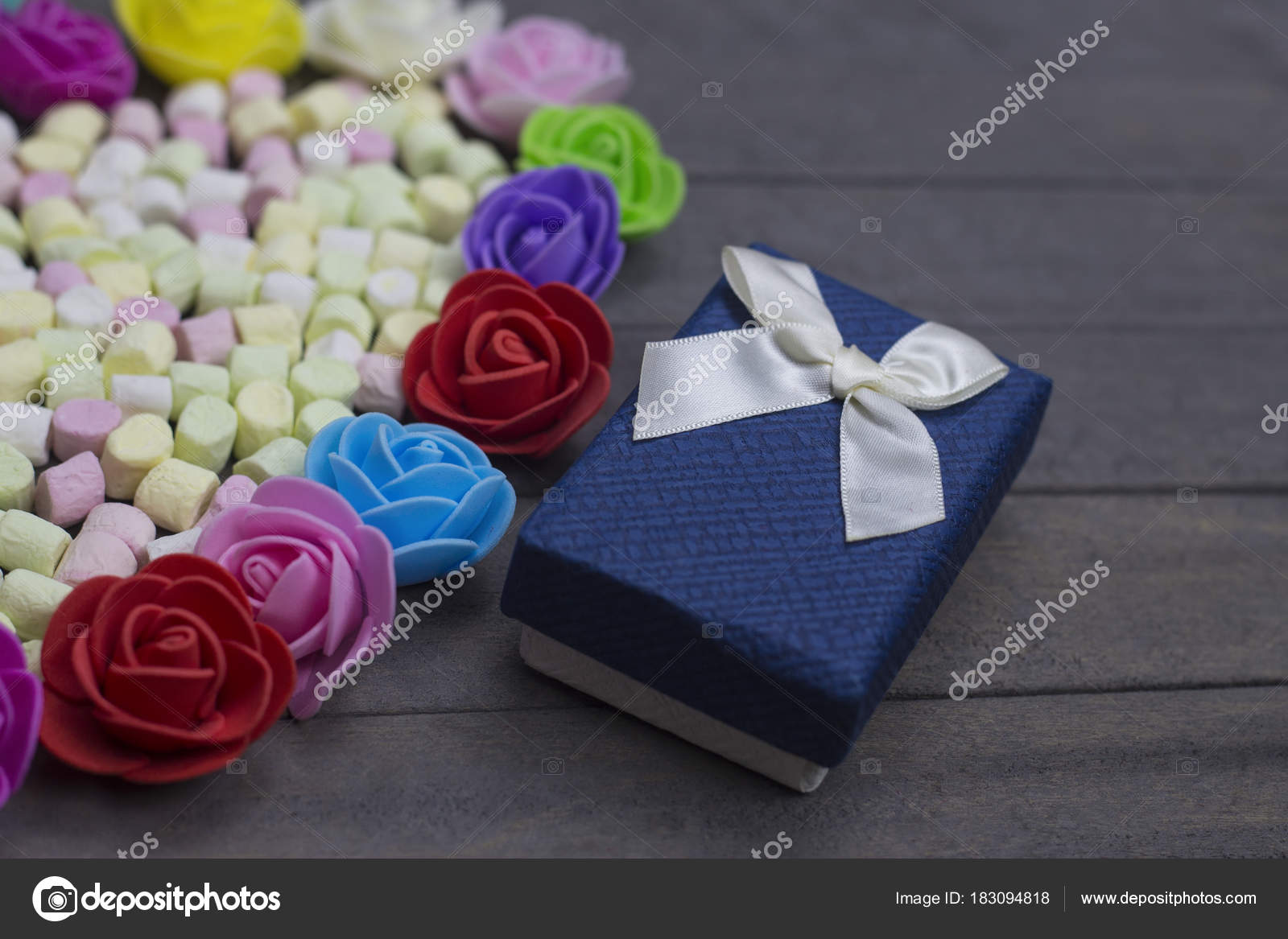 Present Surprise Love Concepts Marshmallow Candies In The Envelope With Two Gift Boxes Decorated Group Of Multi Color Flowers Photo By