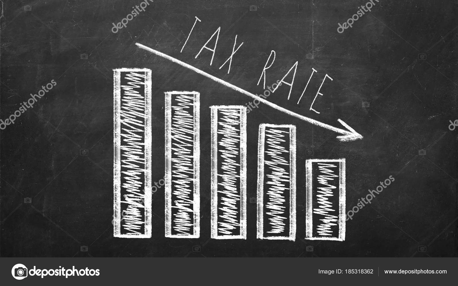 business 2018 saving money and financial planning concept  diagram with  arrow showing declining tax rate — photo by golib tolibov gmail com|