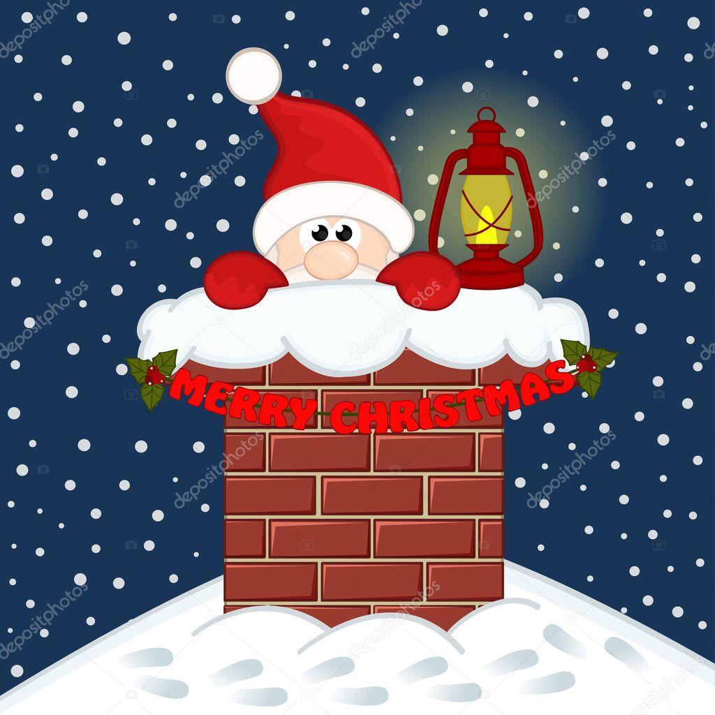 Santa Claus inside chimney