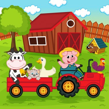 farm animals ride on the tractor in the yard