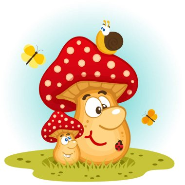 funny insects and mushrooms in a clearing