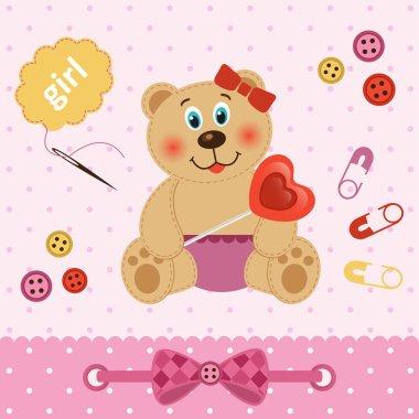 teddy bear girl with  heart