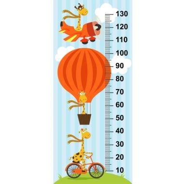 Giraffe on transport height measure(in original proportions 1:4) - vector illustration, eps clip art vector