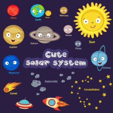 set of cute solar system