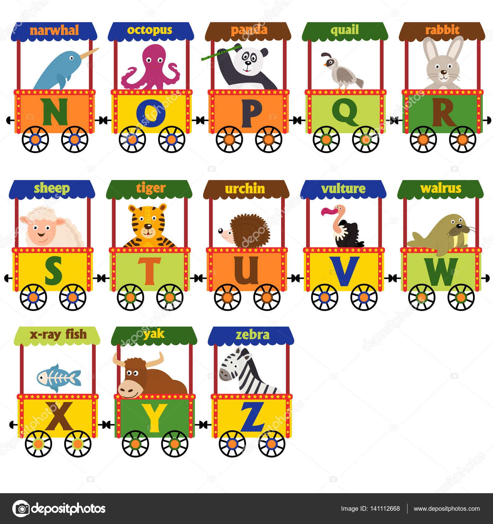 train alphabet with animals n to z u2014 stock vector nkiseleva1