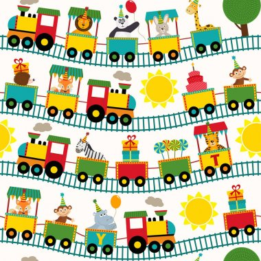 seamless pattern train with birthday characters