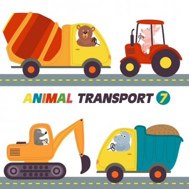 set of isolated transports with animals part 7