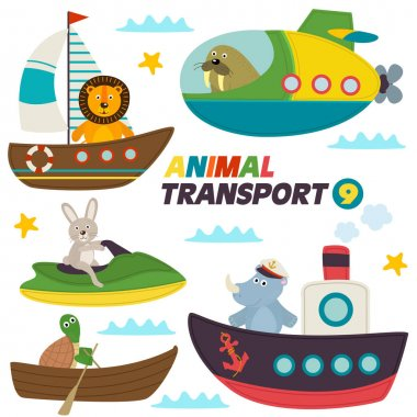 set of isolated sea transports with animals