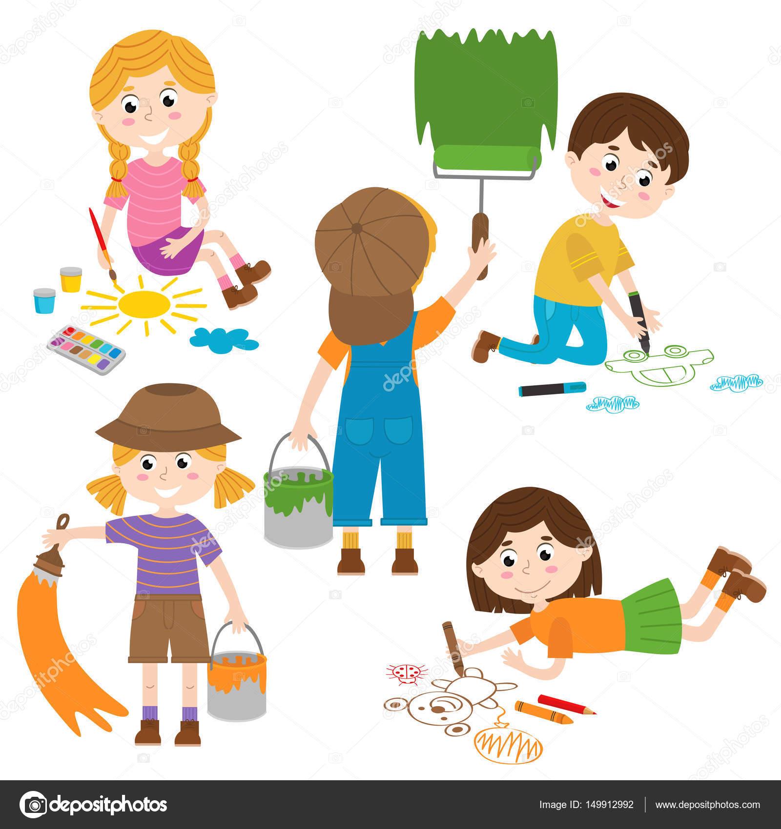 set of isolated children artist part 1 stock vector nkiseleva1