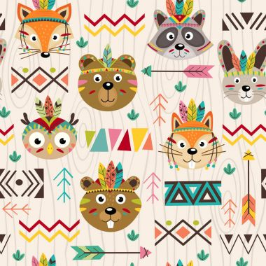 Seamless pattern with tribal animals faces - vector illustration, eps stock vector