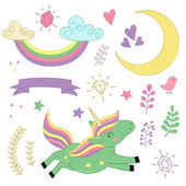 set of isolated unicorn and elements part 2