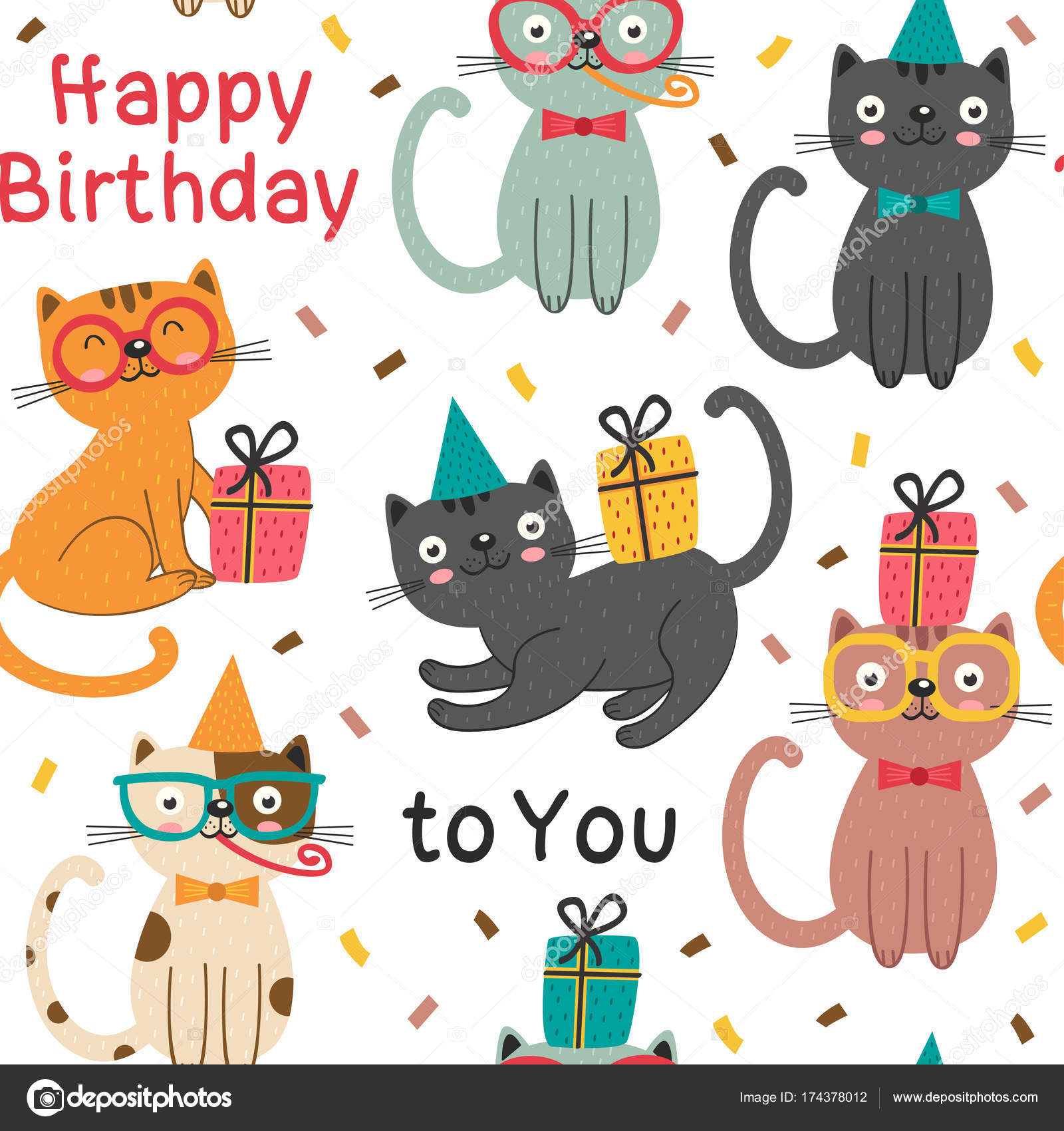 Seamless Pattern With Happy Birthday Cats Stock Vector