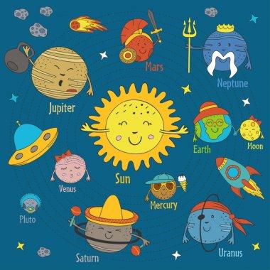 Cartoon funny solar system - vector illustration, eps