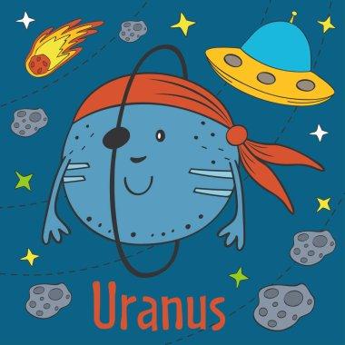 Cartoon funny Uranus - vector illustration, eps