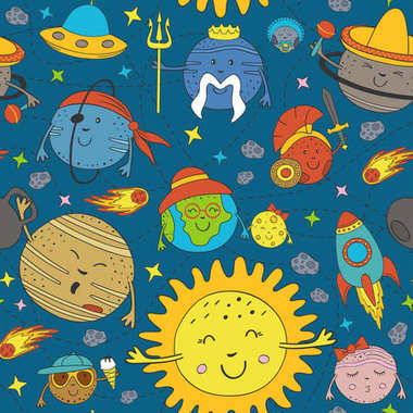 seamless pattern with cartoon funny solar system - vector illustration, eps