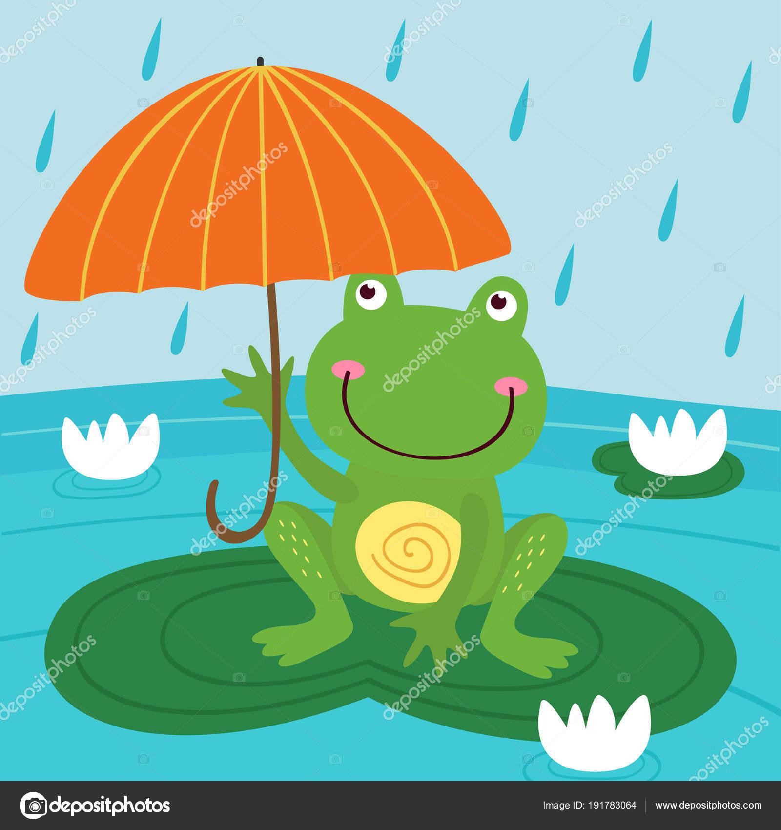 Coloriage Grenouille Avec Parapluie.Grenouille Cacher Pluie Sous Illustration Vecteur Parapluie