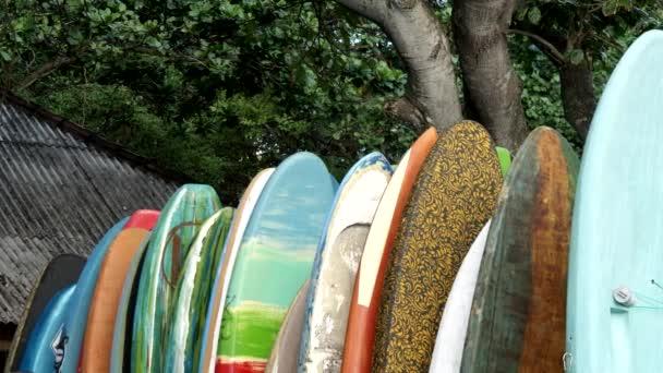 surfboards at kuta beach on the island of bali